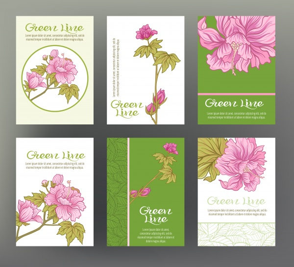 Set of vector cards with traditional Japanese flowers ((eps (18 files)