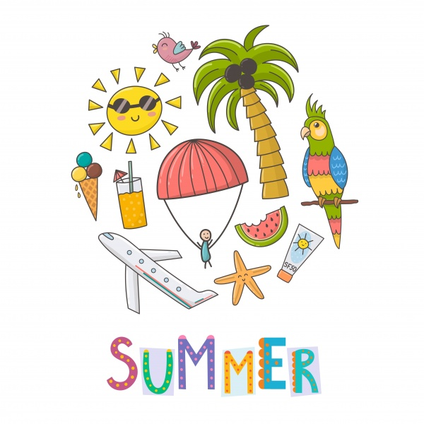 Summer Time. Pattern and clipart ((eps ((ai ((png (26 files)