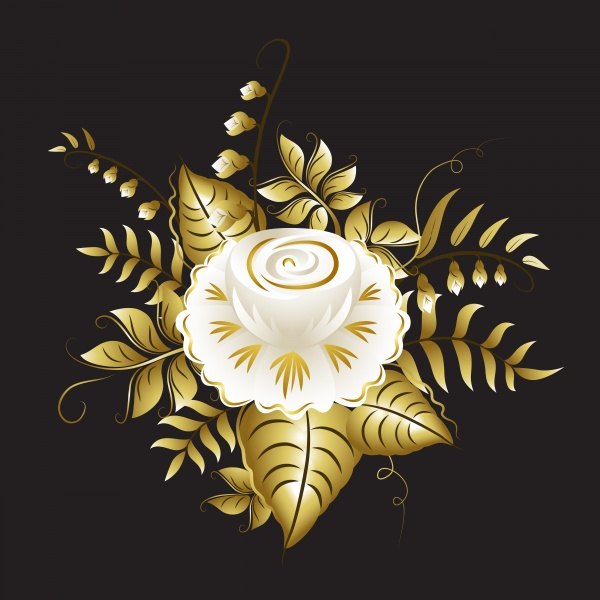 Vector cute white owl with gold florals, white and gold ornamental flowers ((eps (20 files)