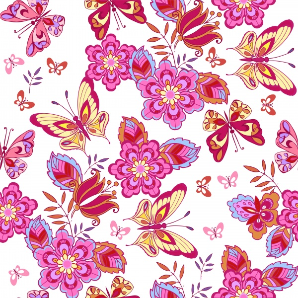 Vector floral seamless pattern ornament with butterflies ((eps (28 files)