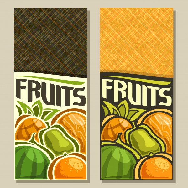 Vector labels with fresh fruits in vintage style ((eps (20 files)