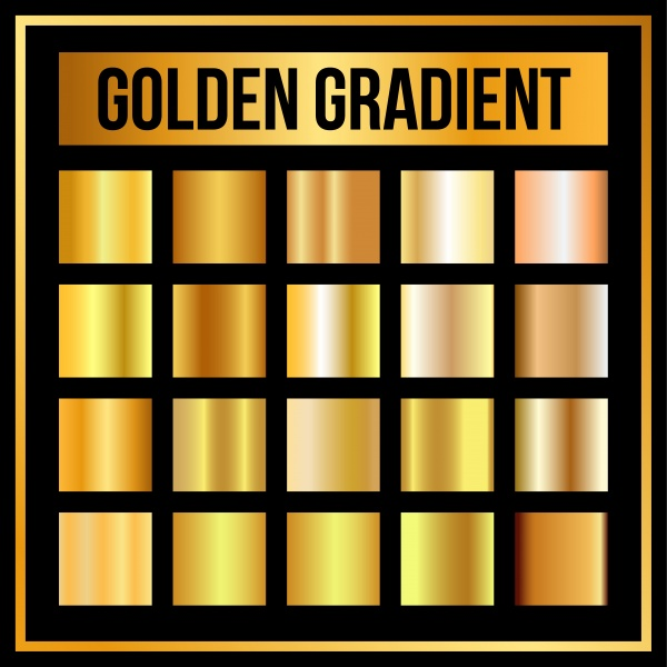 Vector set of golden and silver gradients ((eps (18 files)