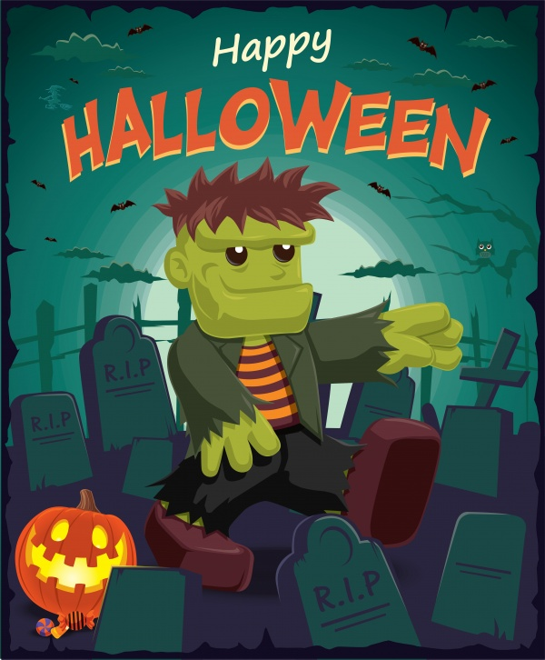 Vintage Halloween poster design 5 ((eps (50 files)