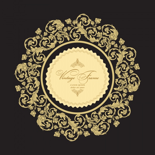 Vintage vector luxury greeting card, ornate gold border ((eps (24 files)