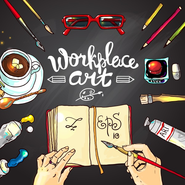 Art Workplace Backgrounds 2 ((eps (8 files)