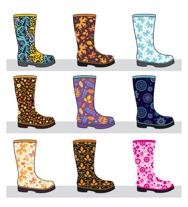 Autumn rain rubber boot umbrella ((eps (50 files)