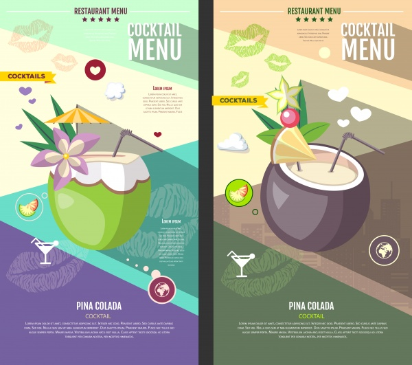 Cocktail vector menu, flat cocktail design on decorative watercolor background ((eps (38 files)