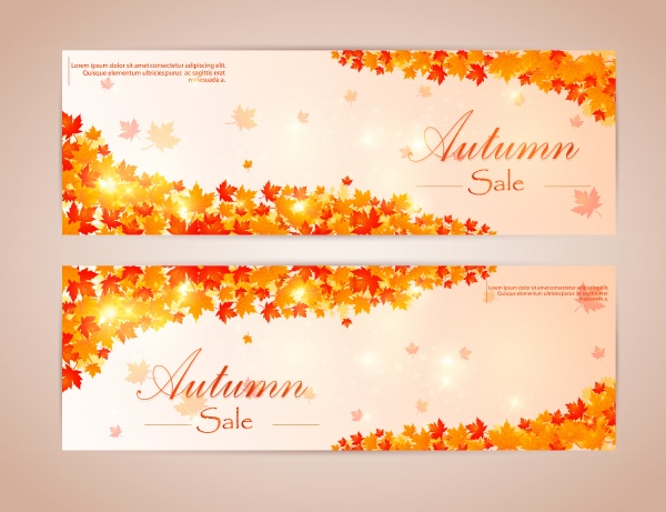 Collection of autumn sale and vector flyer template with lettering, bright fall leaves ((eps (20 files)