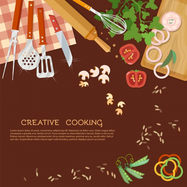 Creative cooking kitchen background kitchenware ((eps (24 files)
