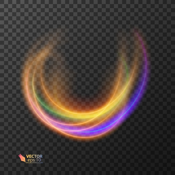 Abstract vector magic glow star light effect with neon curved lines, sparkling dust star trail with bokeh ((eps (20 files)