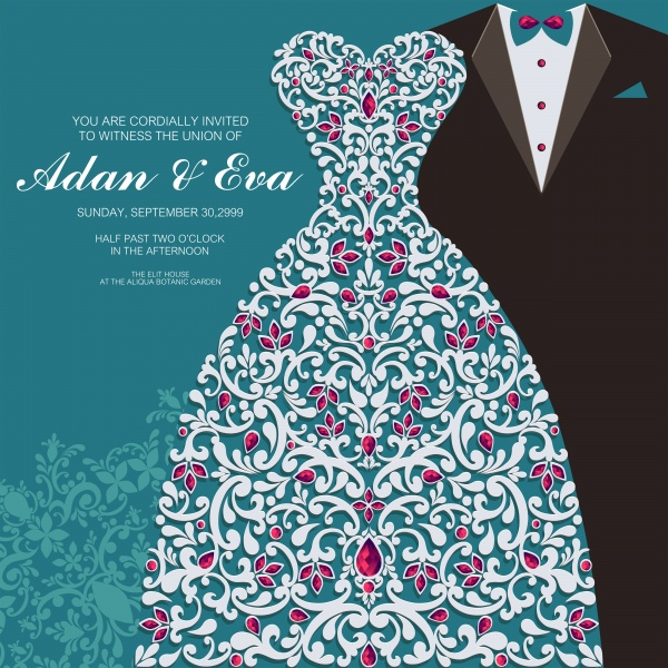 Beautiful vintage wedding invitation in vector ((eps (14 files)