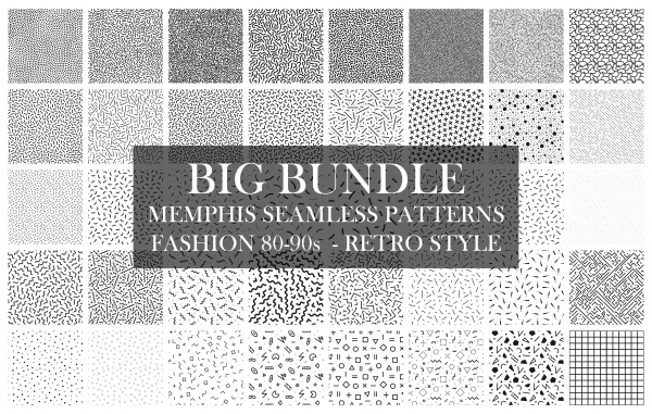 Bundle of Memphis Seamless Patterns ((eps ((png (104 files)