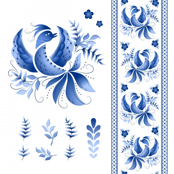 Classic russian gzhel vector ornament motif ((eps - 2 (20 files)