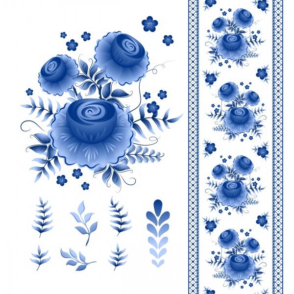 Classic russian gzhel vector ornament motif ((eps - 2 (20 files)