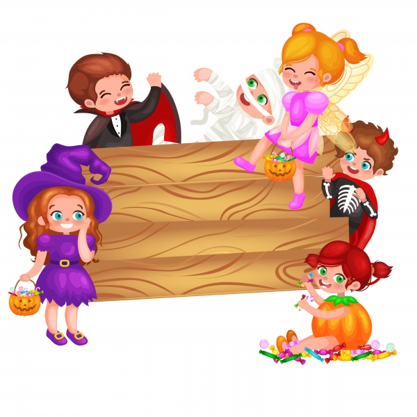 Cute colorful Halloween kids in costume for party set ((eps (24 files)