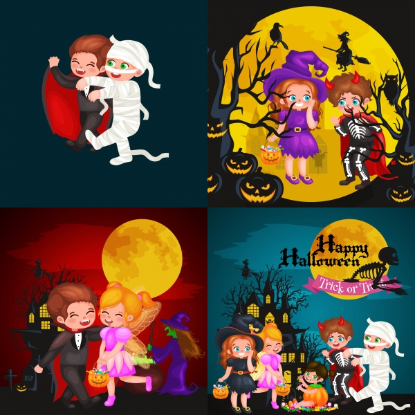 Cute colorful Halloween kids in costume for party set ((eps - 2 (26 files)