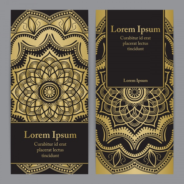 Gold and black vector invitation template, flyer template set with flower mandala in gold color ((eps - 2 (18 files)
