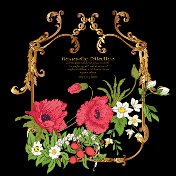 Gold vintage vector frame with flowers, poppy, daffodil, anemone ((eps (20 files)
