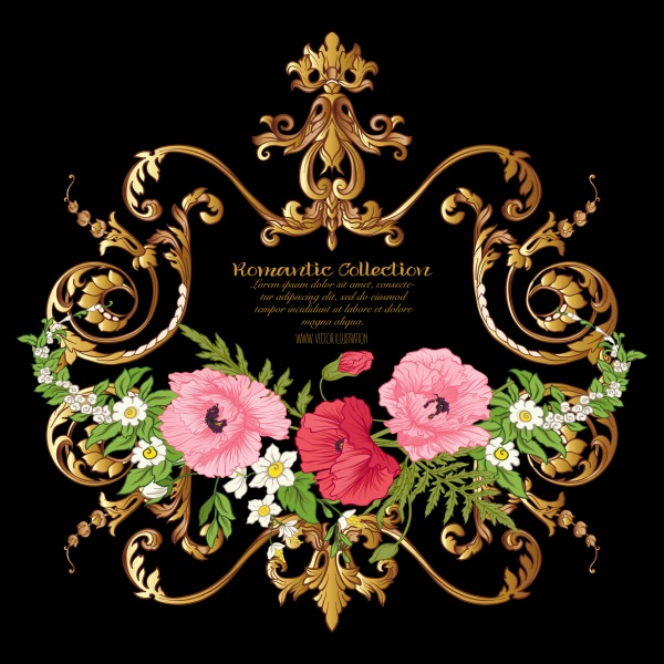 Gold vintage vector frame with flowers, poppy, daffodil, anemone ((eps - 2 (18 files)