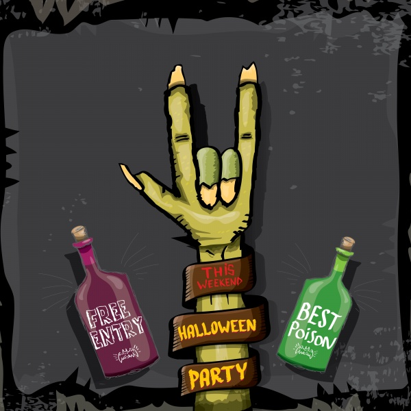 Halloween vector rock n roll zombie background ((eps (48 files)
