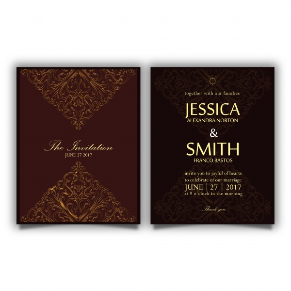 Luxury vector wedding invitation card ((eps - 2 (10 files)