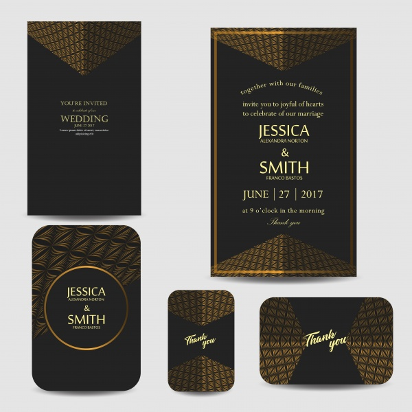 Luxury wedding invitation set in vector ((eps - 2 (4 files)