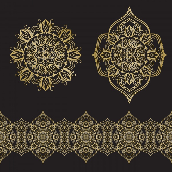 Seamless vector gold ornament set, background with mandala ((eps - 2 (20 files)