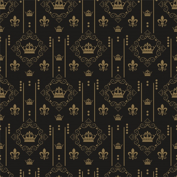 Vector black backgrounds with gold crown patterns ((eps (18 files)