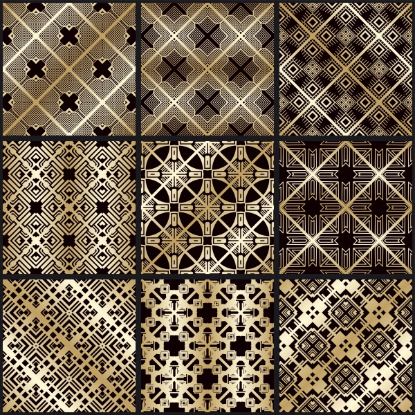 Vector vintage seamless gold patterns set ((eps - 2 (16 files)