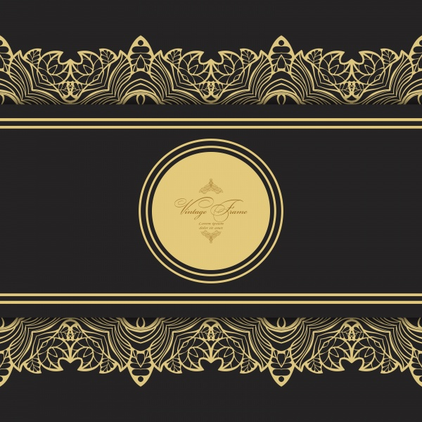 Vintage golden vector frame engraving with retro ornament pattern ((eps (14 files)