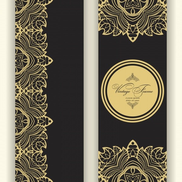 Vintage golden vector frame engraving with retro ornament pattern ((eps - 2 (10 files)