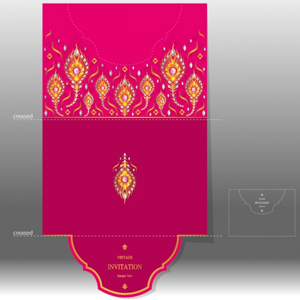 Vintage wedding invitation cards with oriental motifs ((eps - 2 (26 files)