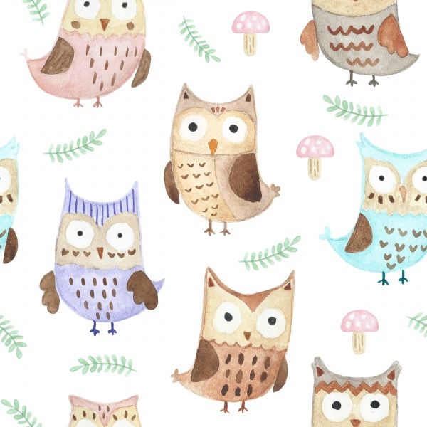 Watercolor Owls patterns and cards ((eps ((png - 3 (16 files)