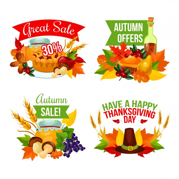 Autumn sale vector background, banner template for discount promotion design ((eps - 2 (18 files)