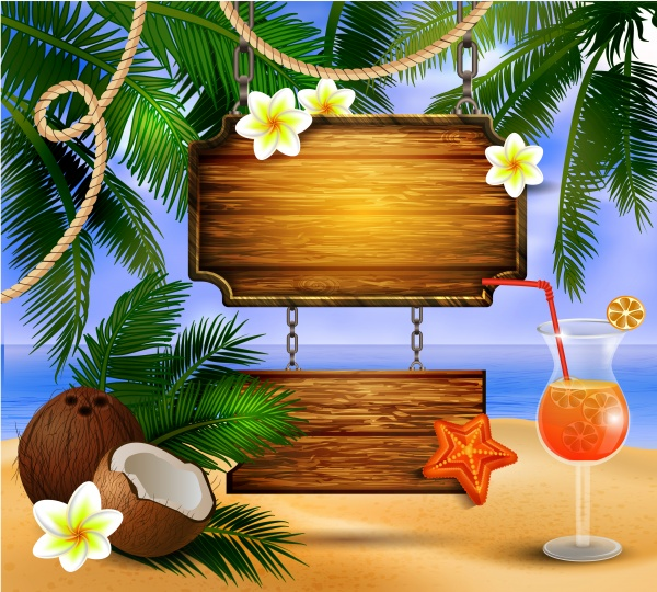 Beautiful beach with starfish palm leaves rope and wooden boards on chain and glass of beverage vector illustration ((eps (16 files)