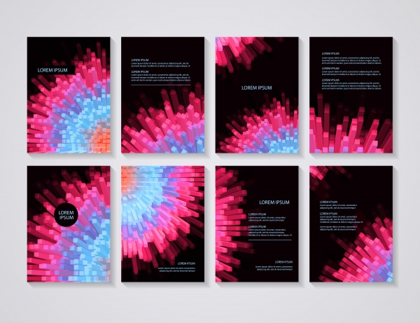 Brochure flyer layouts with vector abstract colorful background ((eps (18 files)