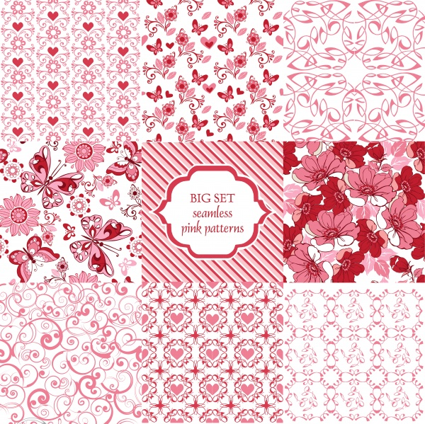 Collection of floral seamless vector pattern with decorative hearts and butterflies ((eps (14 files)