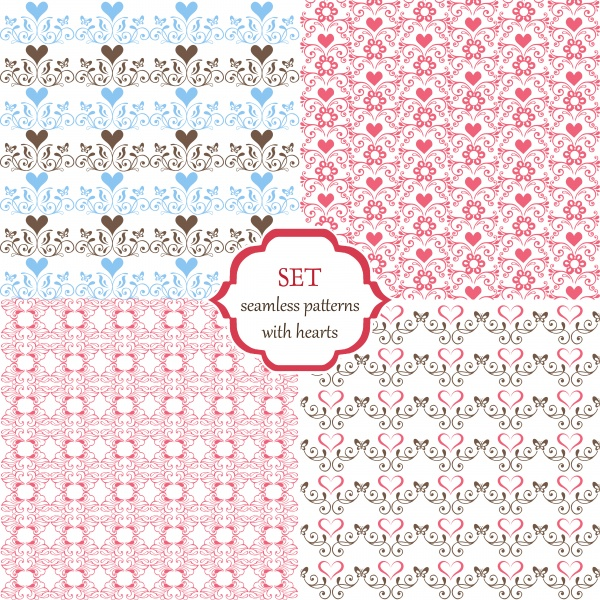 Collection of floral seamless vector pattern with decorative hearts and butterflies ((eps - 2 (10 files)