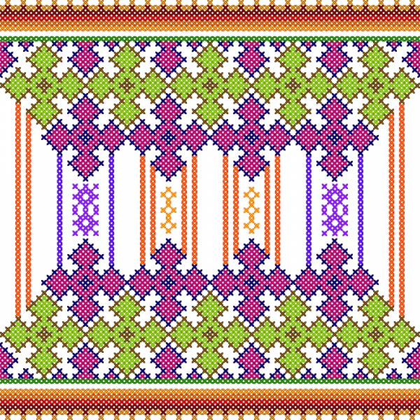Cross vector stitch embroidery, floral design for seamless pattern texture ((eps (16 files)