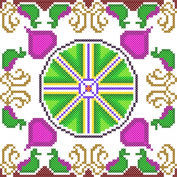 Cross vector stitch embroidery, floral design for seamless pattern texture ((eps- 2 (16 files)