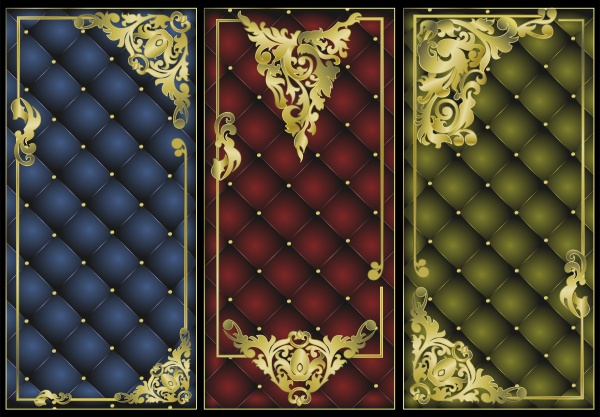 Luxury vector backgrounds and banners with gold decor ((eps - 2 (14 files)