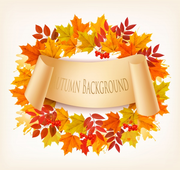 Nature autumn vector background with colorful leaves ((eps (14 files)