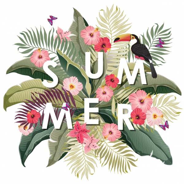 Summer vector background, floral numbers ((eps (14 files)