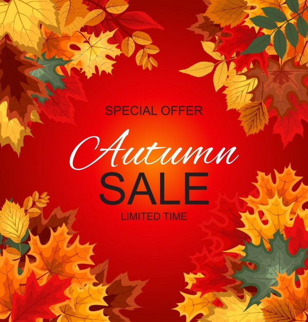 Vector illustration autumn sale background with falling autumn leaves ((eps (22 files)