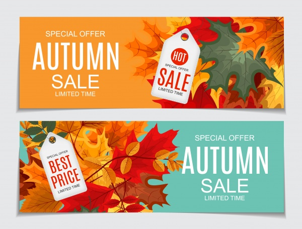 Vector illustration autumn sale background with falling autumn leaves ((eps - 2 (18 files)